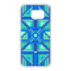 Grid Geometric Pattern Colorful Samsung Galaxy S7 Edge White Seamless Case by Nexatart