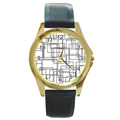 Structure Pattern Network Round Gold Metal Watch by Nexatart