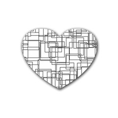Structure Pattern Network Heart Coaster (4 Pack)  by Nexatart