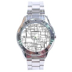 Structure Pattern Network Stainless Steel Analogue Watch by Nexatart