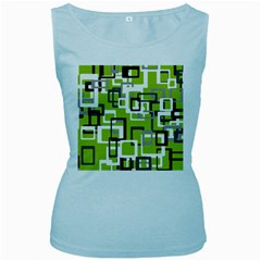 Pattern Abstract Form Four Corner Women s Baby Blue Tank Top