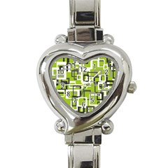 Pattern Abstract Form Four Corner Heart Italian Charm Watch by Nexatart