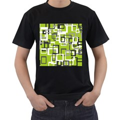 Pattern Abstract Form Four Corner Men s T Shirt (black) (two Sided)