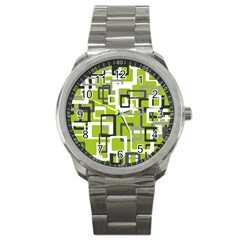 Pattern Abstract Form Four Corner Sport Metal Watch by Nexatart