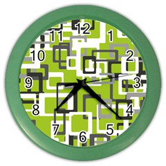 Pattern Abstract Form Four Corner Color Wall Clocks by Nexatart