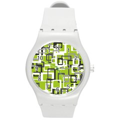 Pattern Abstract Form Four Corner Round Plastic Sport Watch (m) by Nexatart