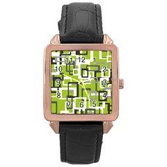Pattern Abstract Form Four Corner Rose Gold Leather Watch