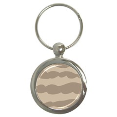 Pattern Wave Beige Brown Key Chains (round)  by Nexatart