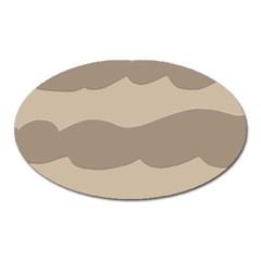 Pattern Wave Beige Brown Oval Magnet
