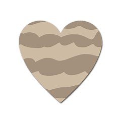 Pattern Wave Beige Brown Heart Magnet by Nexatart