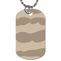 Pattern Wave Beige Brown Dog Tag (one Side)