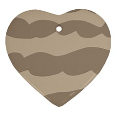 Pattern Wave Beige Brown Heart Ornament (two Sides)