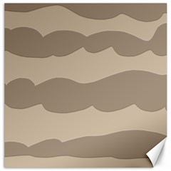 Pattern Wave Beige Brown Canvas 16  X 16