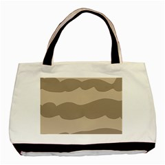 Pattern Wave Beige Brown Basic Tote Bag (two Sides) by Nexatart