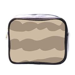 Pattern Wave Beige Brown Mini Toiletries Bags by Nexatart