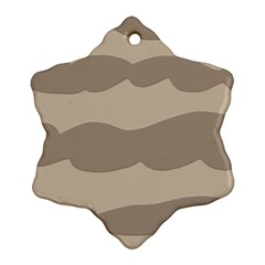 Pattern Wave Beige Brown Snowflake Ornament (two Sides)