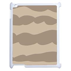 Pattern Wave Beige Brown Apple Ipad 2 Case (white) by Nexatart