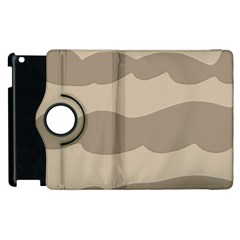 Pattern Wave Beige Brown Apple Ipad 3/4 Flip 360 Case by Nexatart