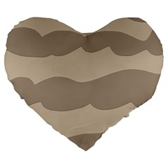Pattern Wave Beige Brown Large 19  Premium Flano Heart Shape Cushions