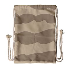 Pattern Wave Beige Brown Drawstring Bag (large) by Nexatart