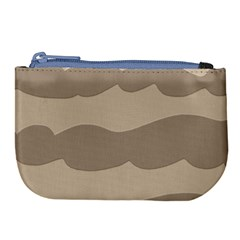 Pattern Wave Beige Brown Large Coin Purse