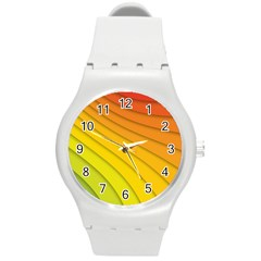 Abstract Pattern Lines Wave Round Plastic Sport Watch (m) by Nexatart