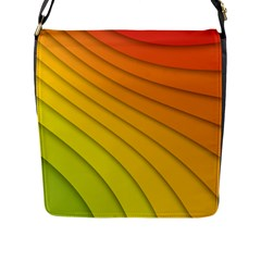 Abstract Pattern Lines Wave Flap Messenger Bag (l)