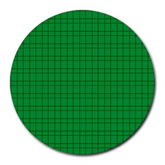 Pattern Green Background Lines Round Mousepads