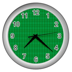 Pattern Green Background Lines Wall Clocks (silver)  by Nexatart