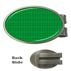 Pattern Green Background Lines Money Clips (Oval)
