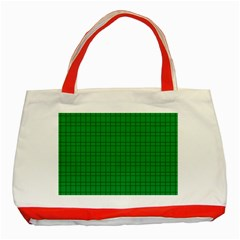 Pattern Green Background Lines Classic Tote Bag (Red)