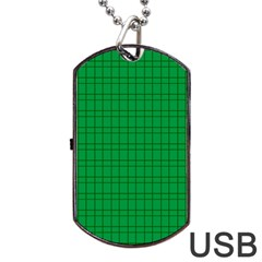 Pattern Green Background Lines Dog Tag USB Flash (One Side)