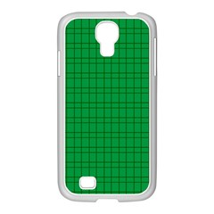 Pattern Green Background Lines Samsung Galaxy S4 I9500/ I9505 Case (white) by Nexatart