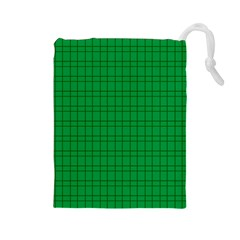 Pattern Green Background Lines Drawstring Pouches (large)