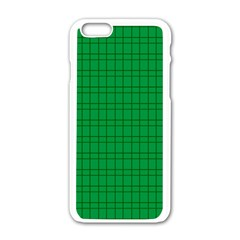Pattern Green Background Lines Apple Iphone 6/6s White Enamel Case by Nexatart