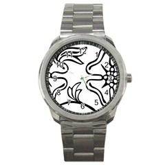 Decoration Pattern Design Flower Sport Metal Watch by Nexatart
