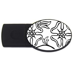 Decoration Pattern Design Flower Usb Flash Drive Oval (4 Gb) by Nexatart