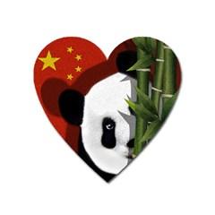 Panda Heart Magnet by Valentinaart