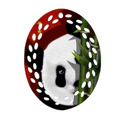 Panda Oval Filigree Ornament (two Sides) by Valentinaart