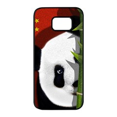 Panda Samsung Galaxy S7 Edge Black Seamless Case by Valentinaart