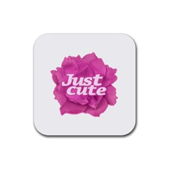 Just Cute Text Over Pink Rose Rubber Coaster (square)  by dflcprints