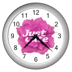 Just Cute Text Over Pink Rose Wall Clocks (silver)  by dflcprints