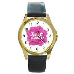 Just Cute Text Over Pink Rose Round Gold Metal Watch by dflcprints