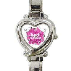 Just Cute Text Over Pink Rose Heart Italian Charm Watch by dflcprints