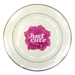 Just Cute Text Over Pink Rose Porcelain Plates Front