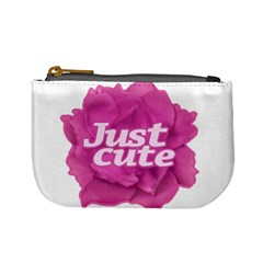 Just Cute Text Over Pink Rose Mini Coin Purses by dflcprints