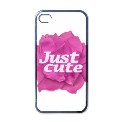 Just Cute Text Over Pink Rose Apple Iphone 4 Case (black) by dflcprints