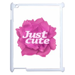 Just Cute Text Over Pink Rose Apple Ipad 2 Case (white) by dflcprints