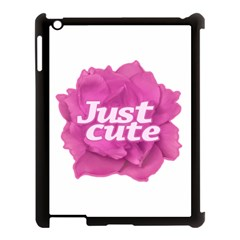 Just Cute Text Over Pink Rose Apple Ipad 3/4 Case (black) by dflcprints
