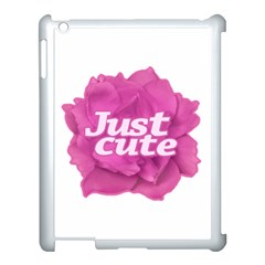 Just Cute Text Over Pink Rose Apple Ipad 3/4 Case (white) by dflcprints